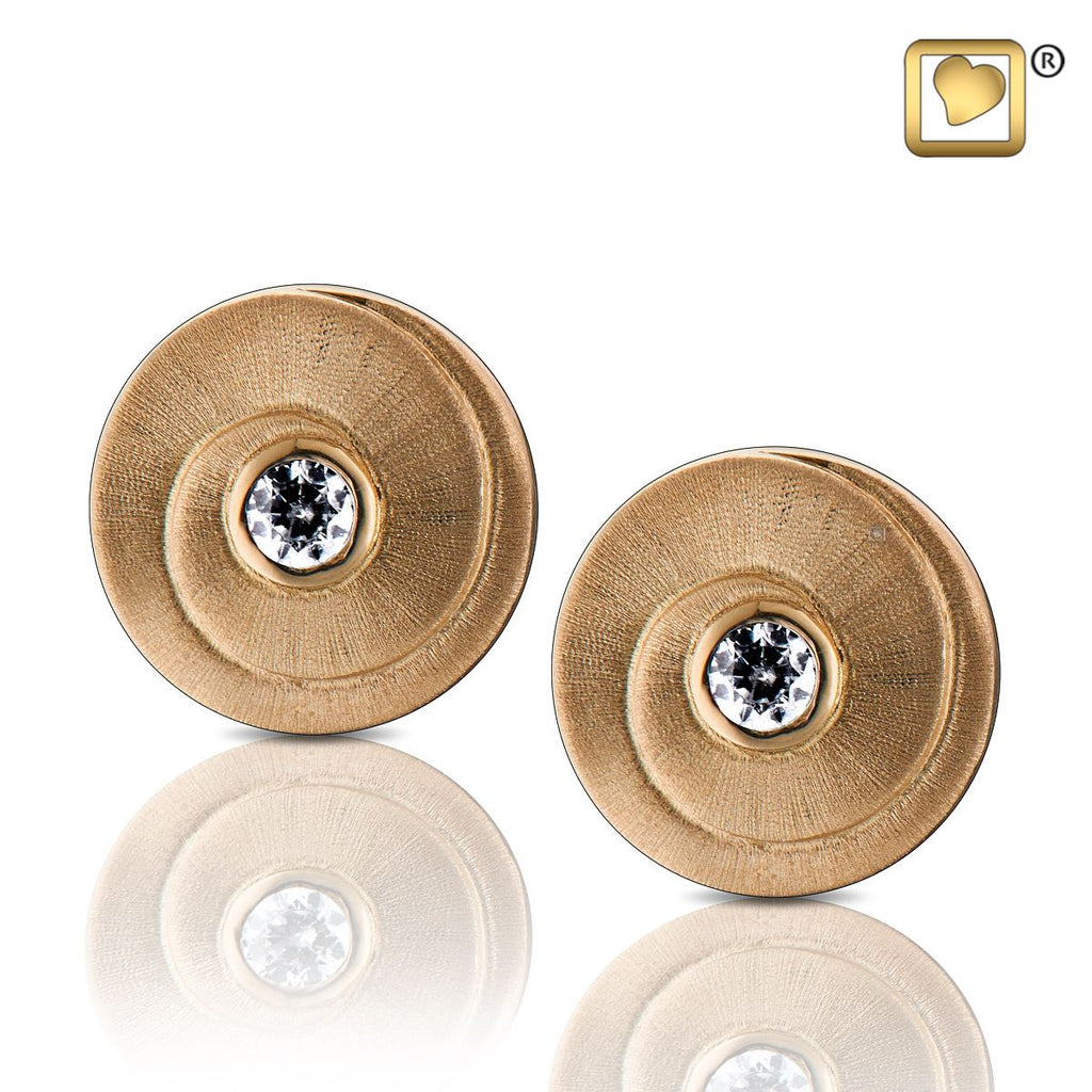 Stud Earrings: Eternity - Gold Vermeil Two Tone w/Clear Crystal