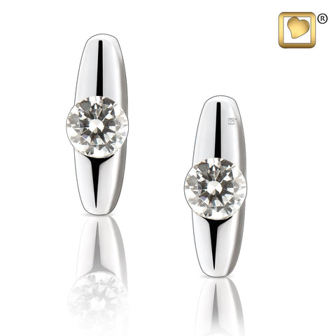Stud Earrings: Hope - Rhodium Plated w/Clear Crystal