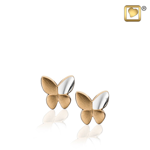 Stud Earrings: Butterfly - Gold Vermeil Two Tone