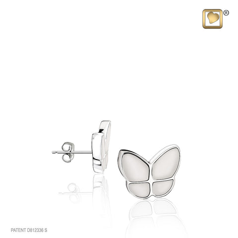 Stud Earrings: Wings Of Hope Pearl - Enamel Rhodium Plated