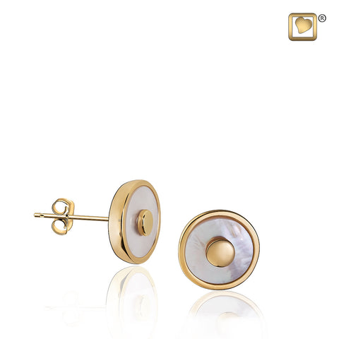 Stud Earrings: Mother of Pearl - Gold Vermeil