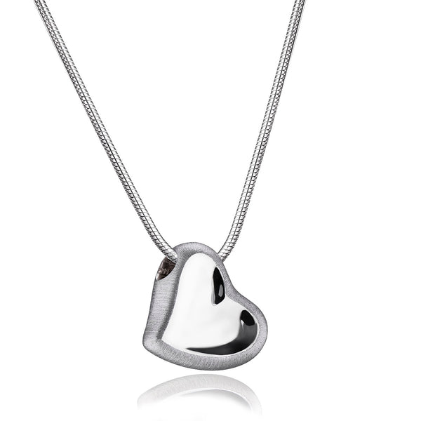 Pendant: Leaning Heart - Rhodium Plated Two Tone