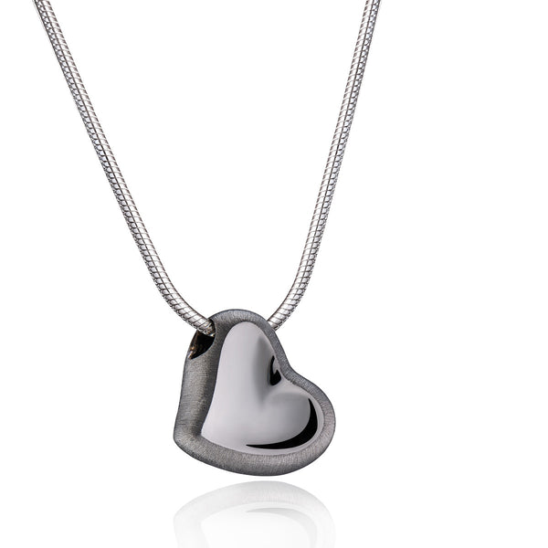 Pendant: Leaning Heart - Ruthenium Plated Two Tone