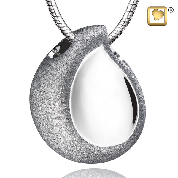 Pendant: TearDrop - Rhodium Plated Two Tone