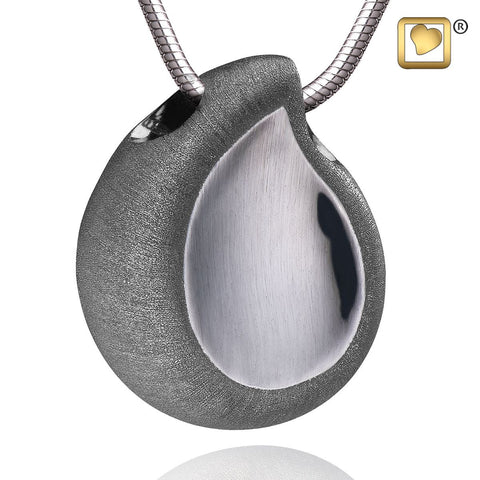 Pendant: TearDrop - Ruthenium Plated Two Tone