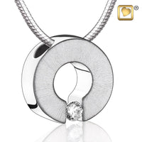 Pendant: Omega - Rhodium Plated Two Tone w/Clear Crystal