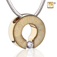 Pendant: Omega - Gold Vermeil Two Tone w/Clear Crystal