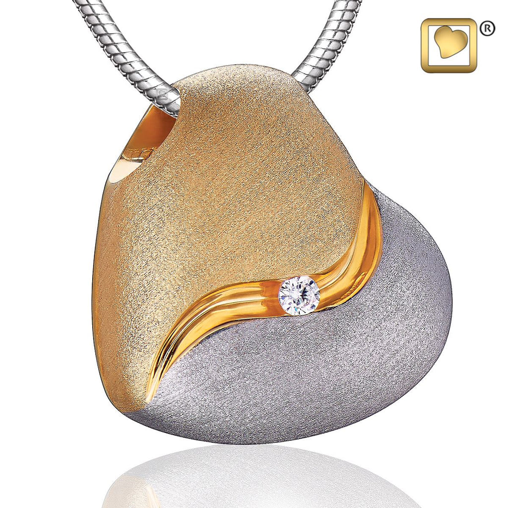 Pendant: Heartfelt - Gold Vermeil Two Tone w/Clear Crystal
