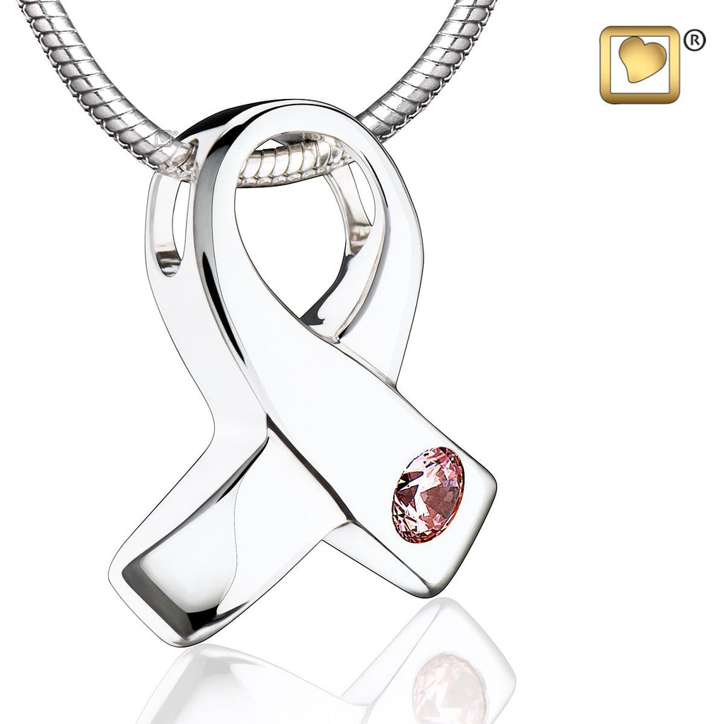 Pendant: Awareness - Rhodium Plated w/Pink Crystal