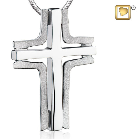 Pendant: Cross Elegant - Rhodium Plated Two Tone