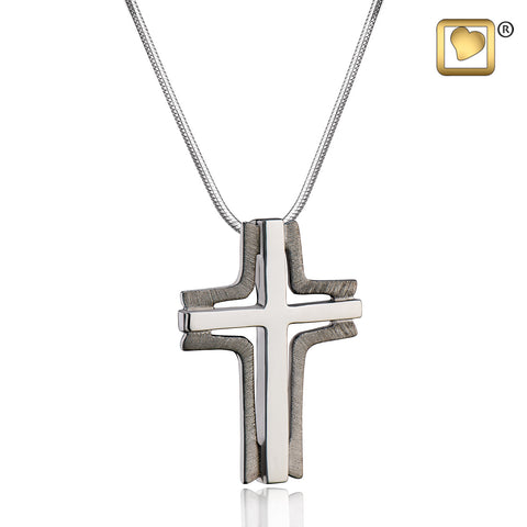 Pendant: Cross Elegant - Ruthenium Plated Two Tone