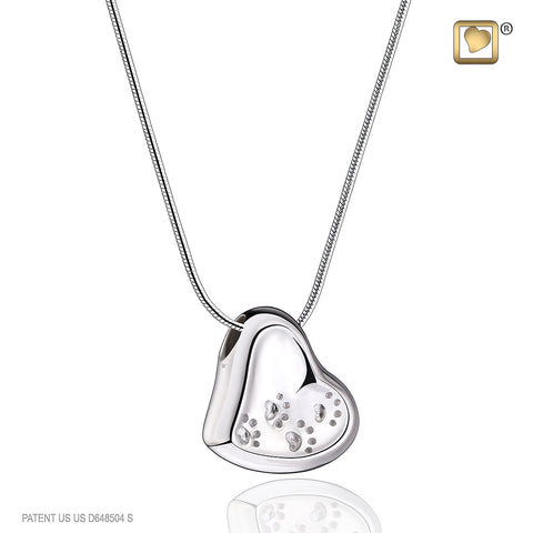 Pendant: Leaning Heart With Paw Prints - Rhodium Plated