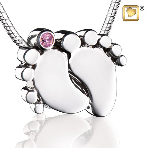 Pendant: Baby Feet - Rhodium Plated w/Pink Crystal