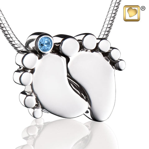 Pendant: Baby Feet - Rhodium Plated w/Blue Crystal