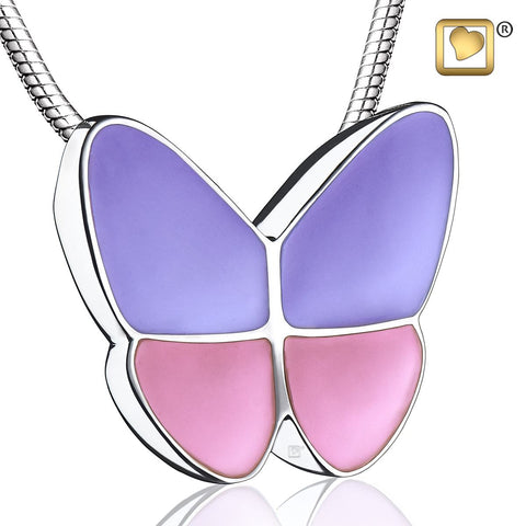 Pendant: Wings Of Hope Lavender - Enamel Rhodium Plated