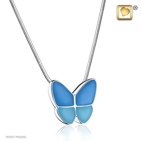 Pendant: Wings Of Hope Blue - Enamel Rhodium Plated