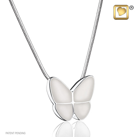 Pendant: Wings Of Hope Pearl - Enamel Rhodium Plated