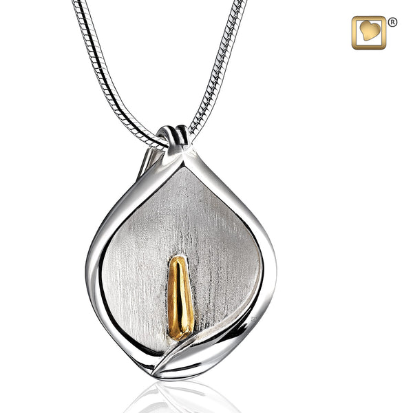 Pendant: Calla Lily - Rhodium Plated Gold Vermeil Two Tone