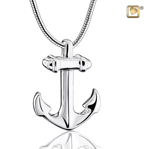 Pendant: Anchor - Rhodium Plated