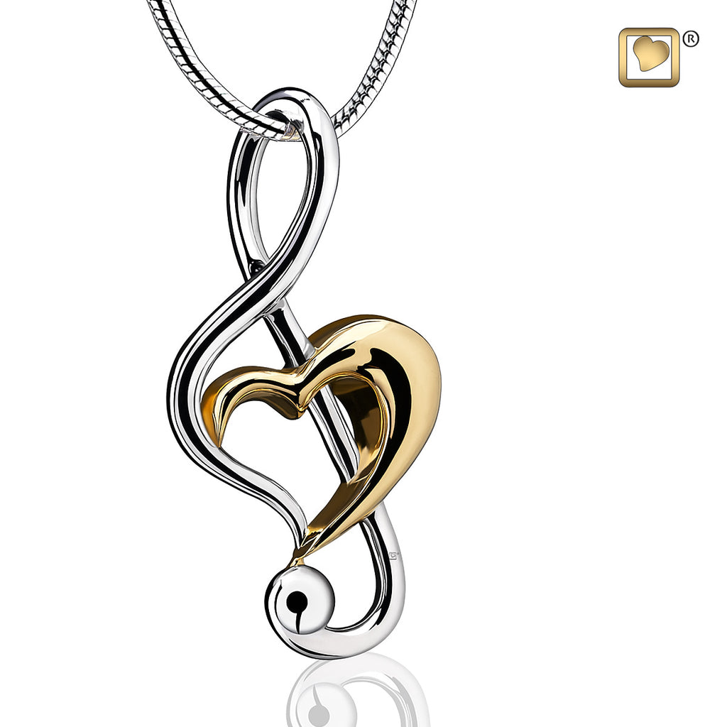 Pendant: Treble Clef Heart - Rhodium Plated Gold Vermeil Two Tone