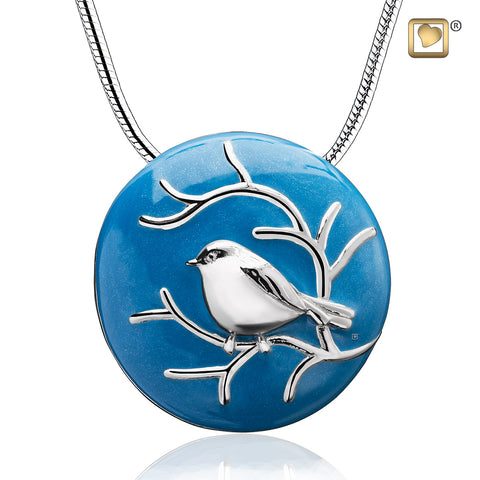 Pendant: Blessing Birds - Blue Enamel Rhodium Plated