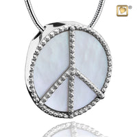 Pendant: Peace Mother of Pearl Rhodium Plated
