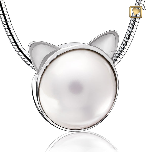 Pendant: Cat Pearl - Rhodium Plated