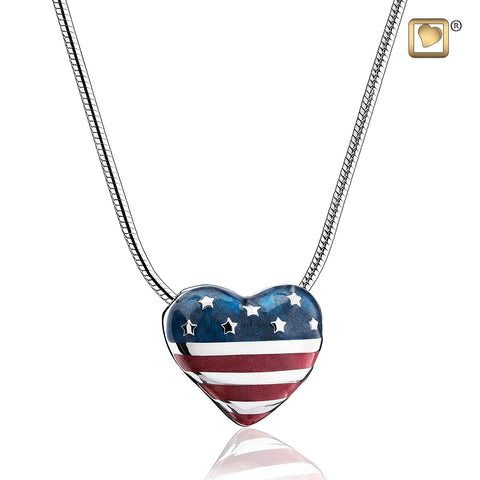 Pendant: Stars & Stripes - Enamel Rhodium Plated