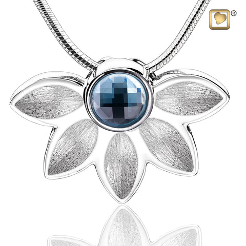Pendant:  Azure - Rhodium Plated Two Tone w/Blue Swarovski Crystal
