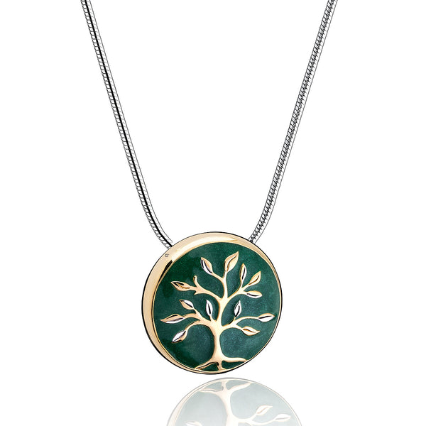 Pendant: Tree of Life - Enamel Gold Vermeil Two Tone