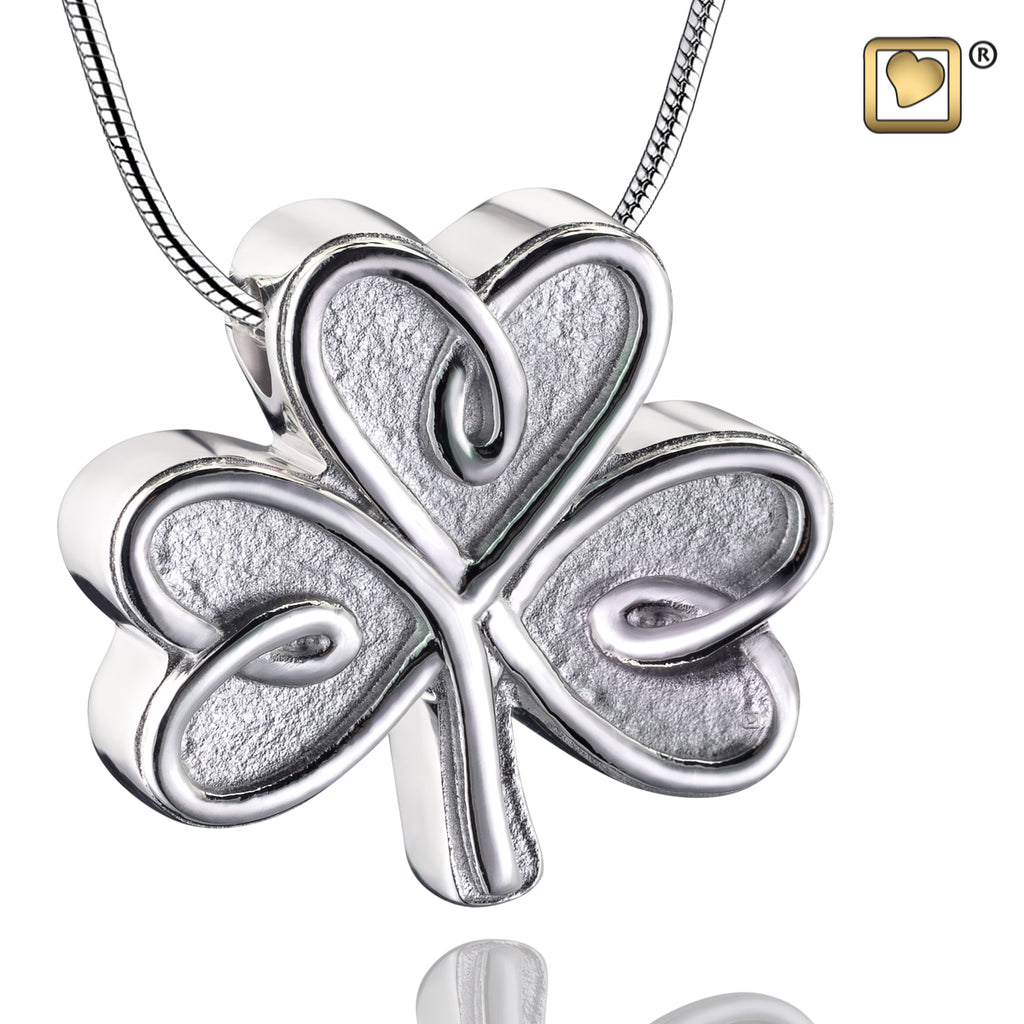 Pendant: Celtic Shamrock - Rhodium Plated Two Tone