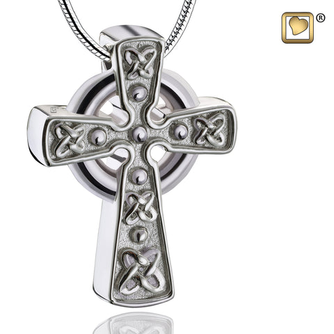 Pendant: Celtic Cross with Knots - Rhodium Plated Two Tone