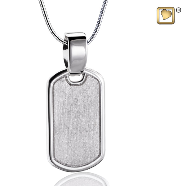 Pendant: Dog Tag - Rhodium Plated Two Tone