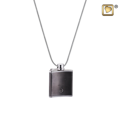 Pendant: Flask - Ruthenium Plated Two Tone