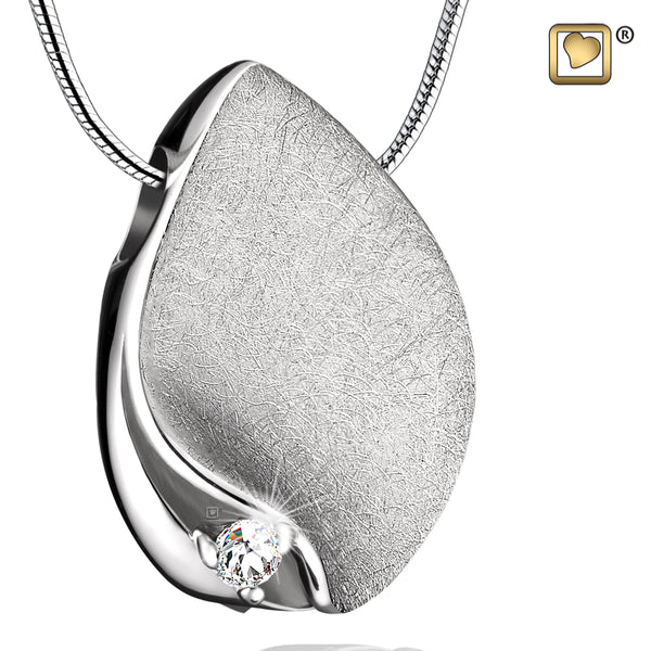 Pendant: TearDrop - Rhodium Plated Two Tone w/Crystal