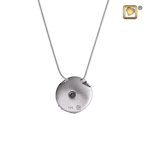 Pendant: Circle w/Crystal - Rhodium Plated Two Tone