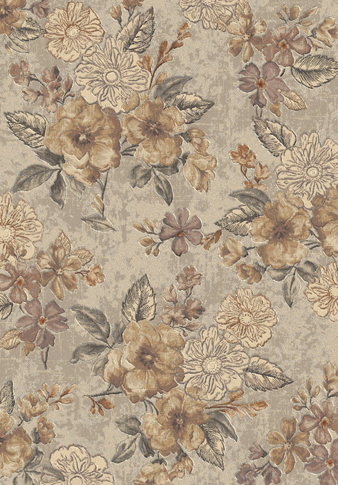 Rustic Colour Floral Style Argentum Rug Size: 120 x 170cm-Modern Rug-Rugs Direct