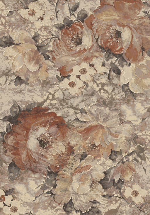 Rustic Colour Floral Style Argentum Rug Size: 133 x 195cm-Modern Rug-Rugs Direct