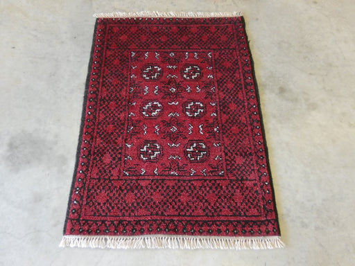 Afghan Hand Knotted Turkman Rug Size: 75 x 105cm