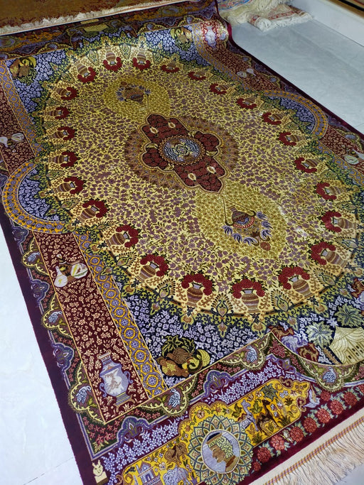 Hand Knotted Persian Design Pure Silk Rug Size: 264 x 182cm