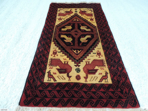 Vintage Persian Handmade Baluchi Rug Size: 90 x 177cm-Physical-Rugs Direct