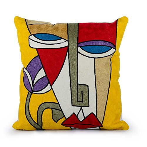 "Hand Embroidered ""Picasso"" Cushion Cover"