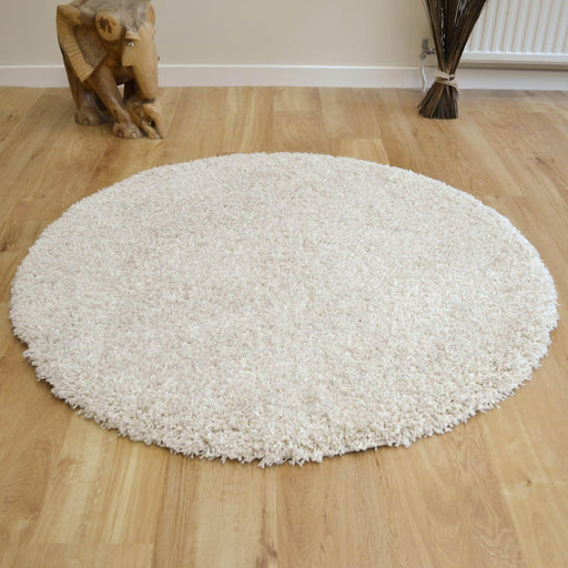 Twilight Chalk White Shaggy Round Rug