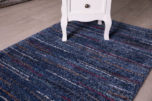Thick Modern Blues Blue Denim Navy Shaggy Rug-Modern Rug-Rugs Direct