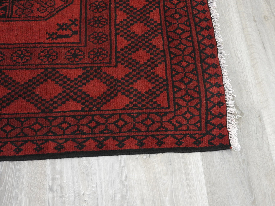 Afghan Hand Knotted Turkman Rug Size: 298cm x 199cm