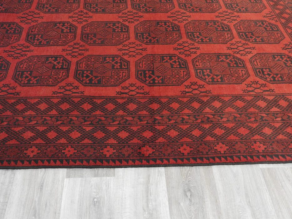 Afghan Hand Knotted Turkman Rug Size:  285cm x 197cm