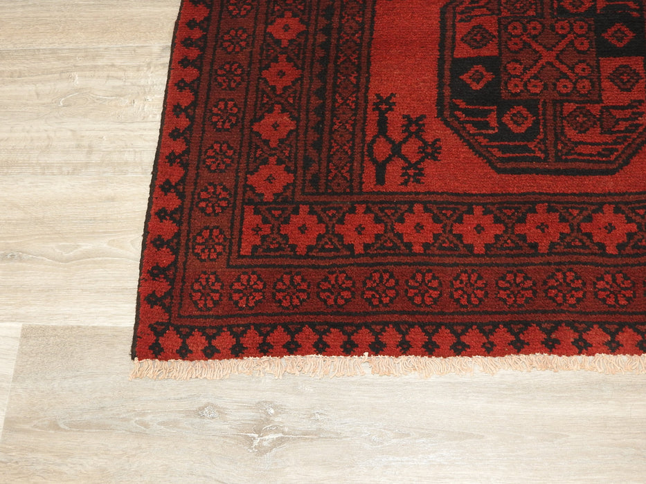 Afghan Hand Knotted Turkman Rug Size: 147 x 99cm-Afghan Rug-Rugs Direct