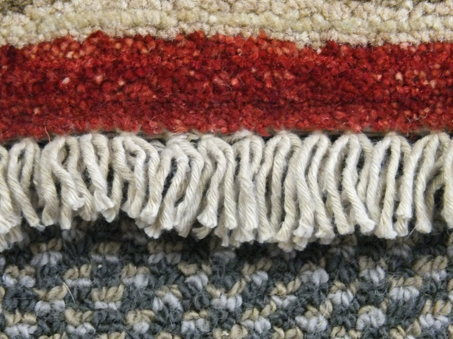 Cream and Red Afghan Hand Knotted Choubi Rug Size: 241 x 297cm