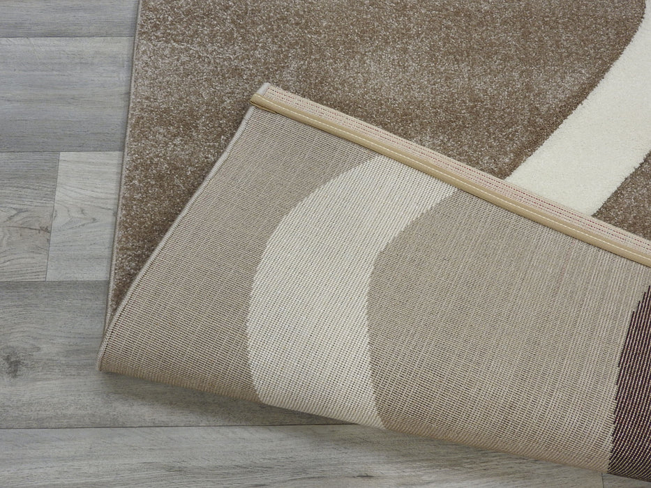 Brown and Cream Waves Modern Turkish Rug