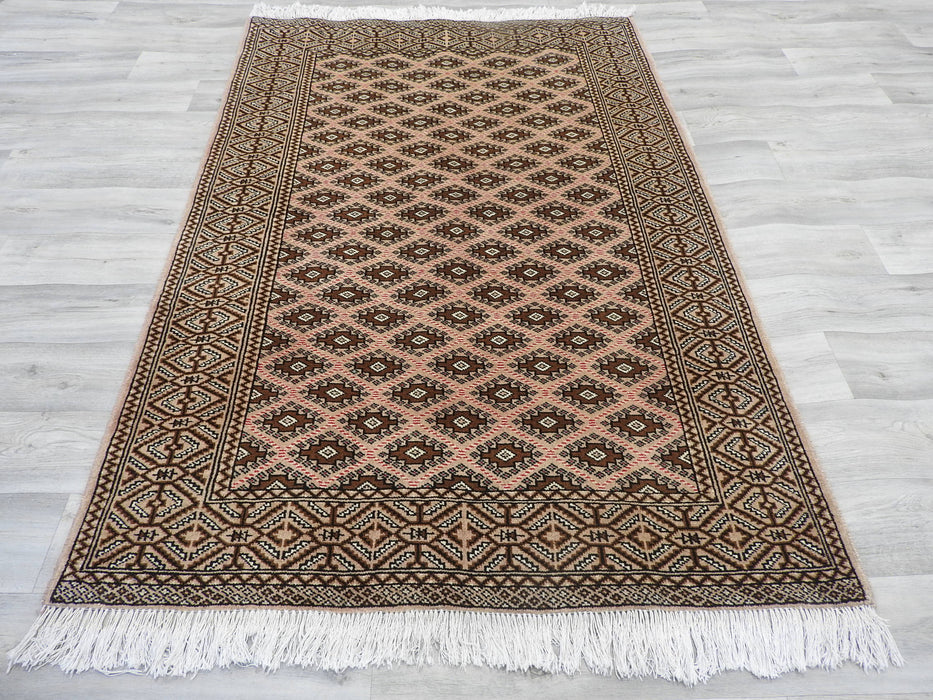 Old Persian Hand Knotted Turkman Rug Size: 130 x 195cm-Bukhara Rug-Rugs Direct